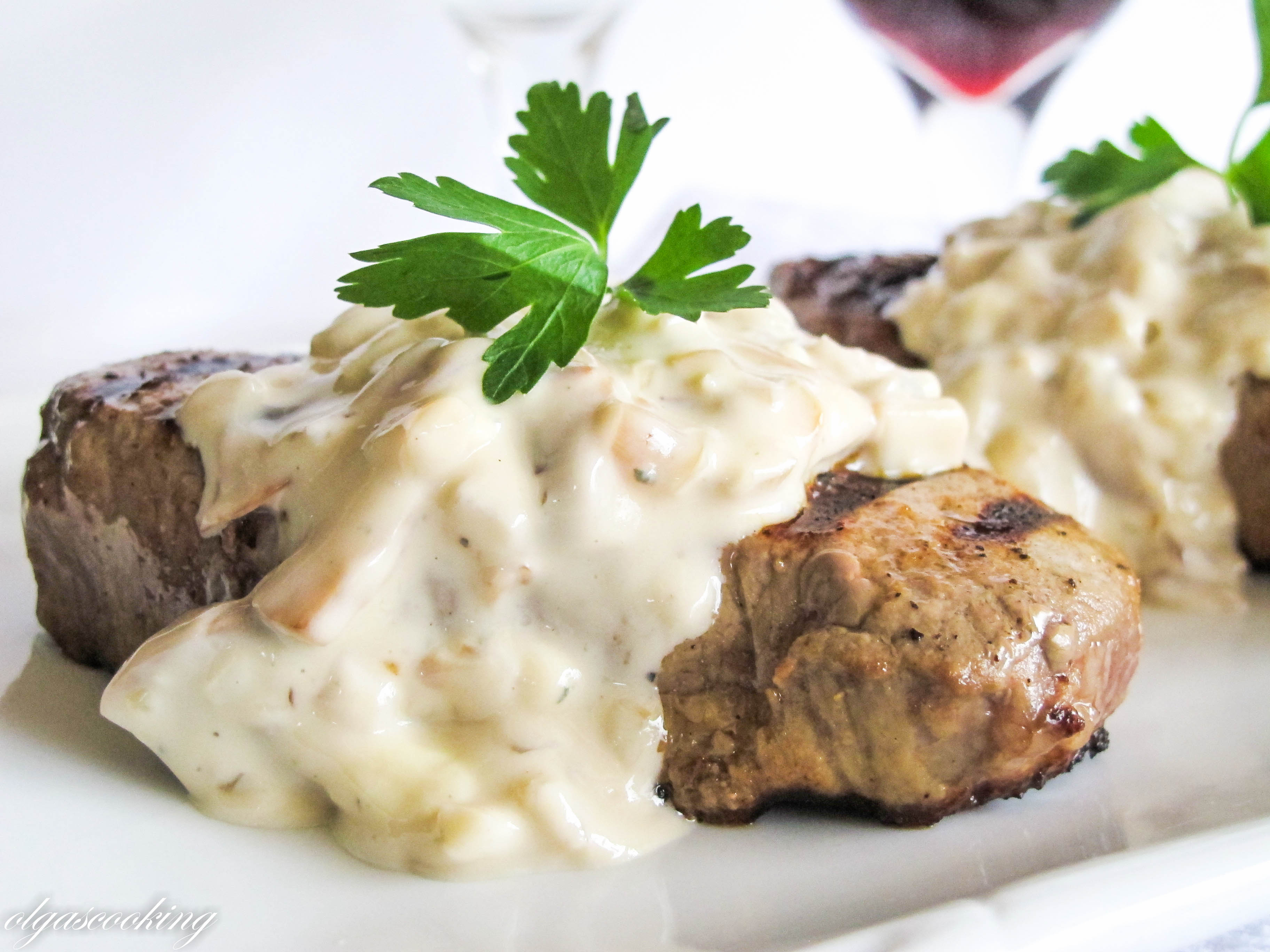 Steak Tenderloin In A Mushroom And Blue Cheese Sauce Recipes ...