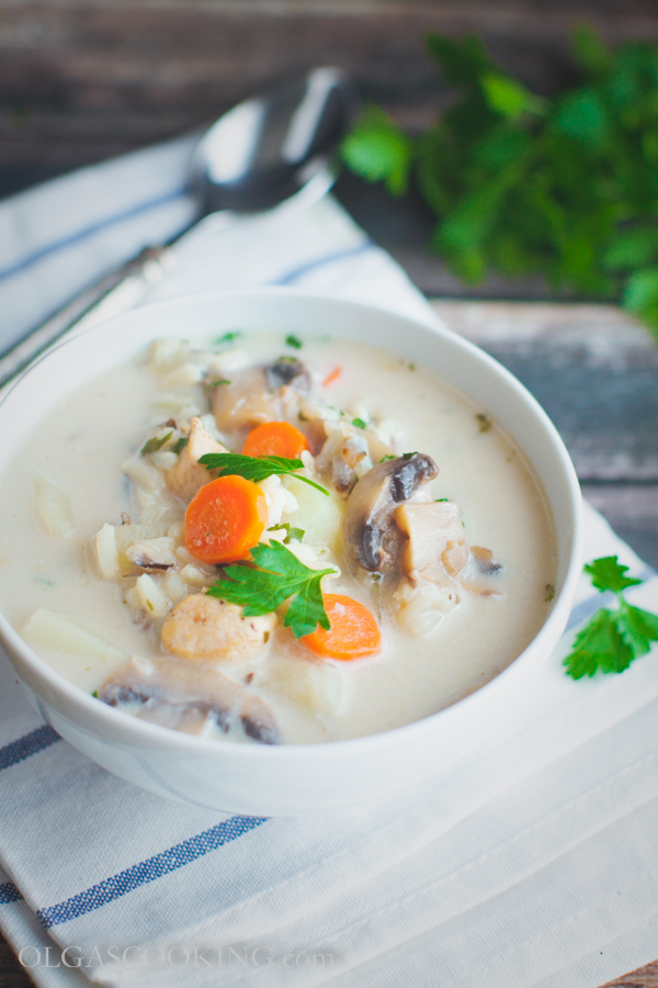 Creamy Wild Rice & Chicken Soup - Olgas Cooking