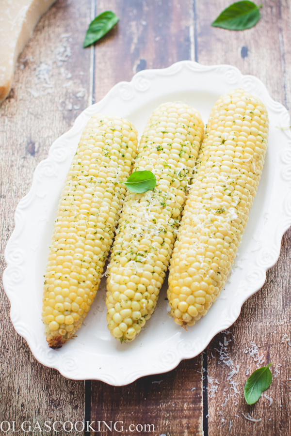 Corn on a Cob with Basil Butter - Olgas Cooking